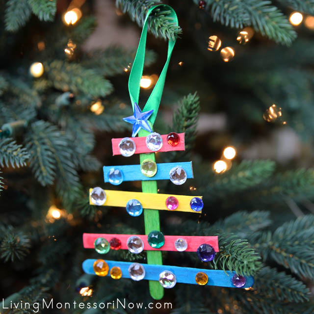 Sparkly Craft-Stick Christmas Tree Ornament