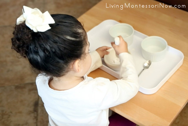 Using a Mortar and Pestle to Crush Eggshells