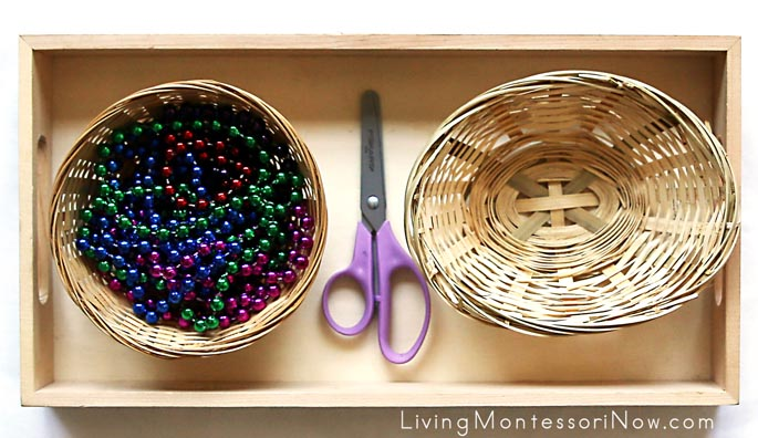 Cutting Tray with Strings of Beads