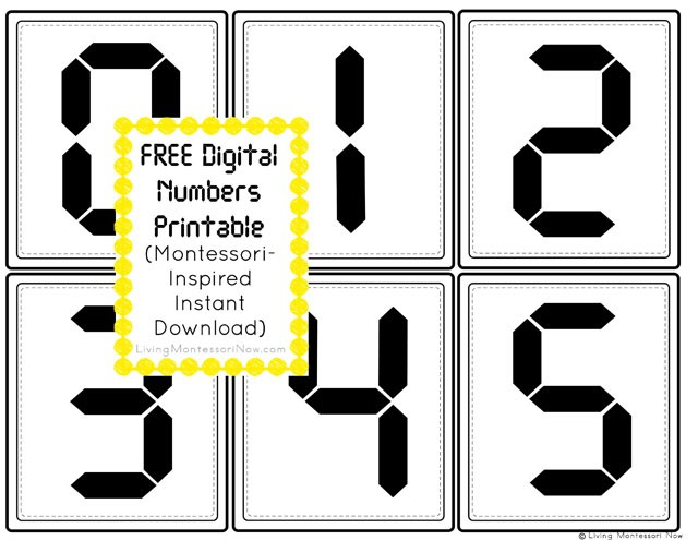 free digital clock numbers printable montessori inspired. Black Bedroom Furniture Sets. Home Design Ideas