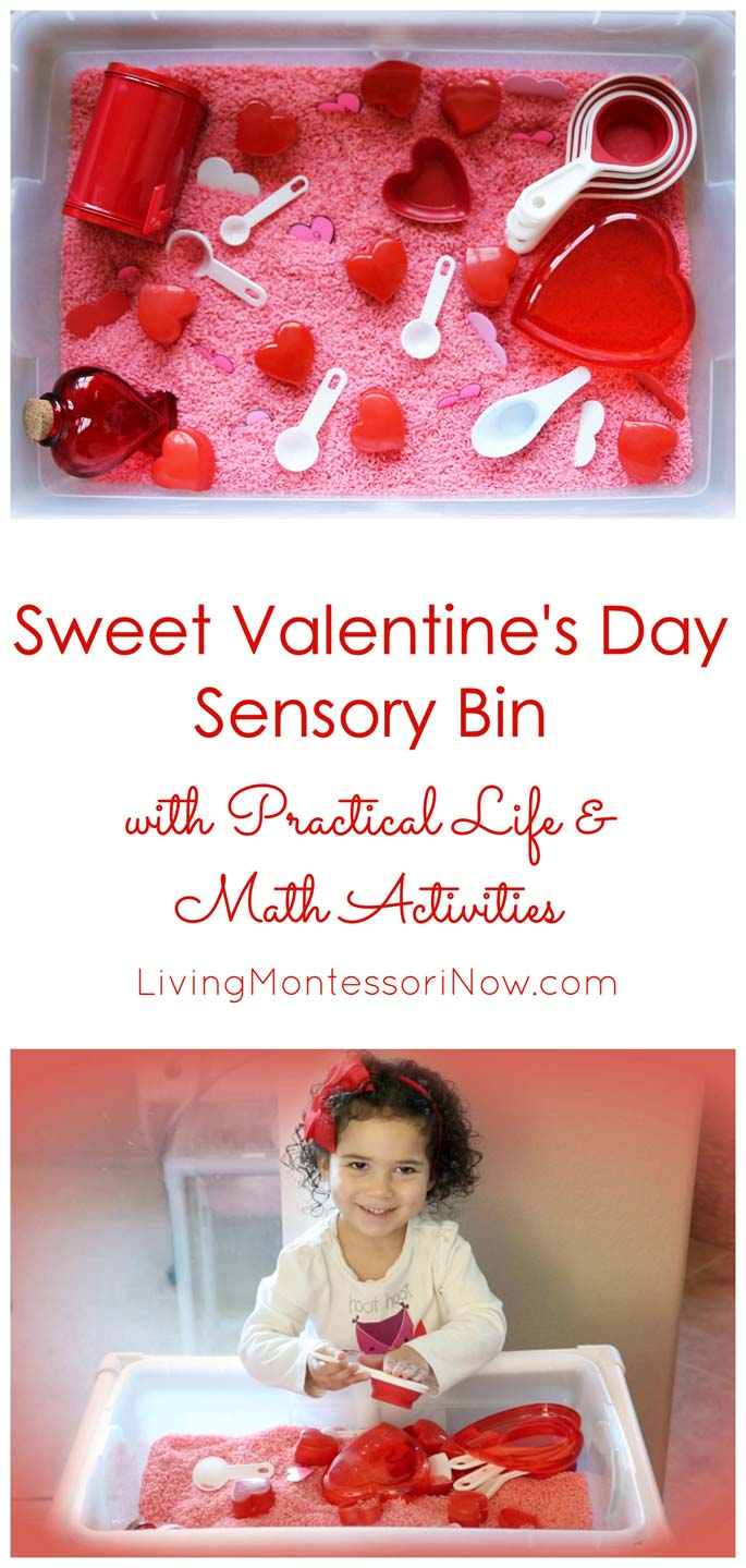 Sweet Valentine's Day Sensory Bin with Practical Life and Math Activities