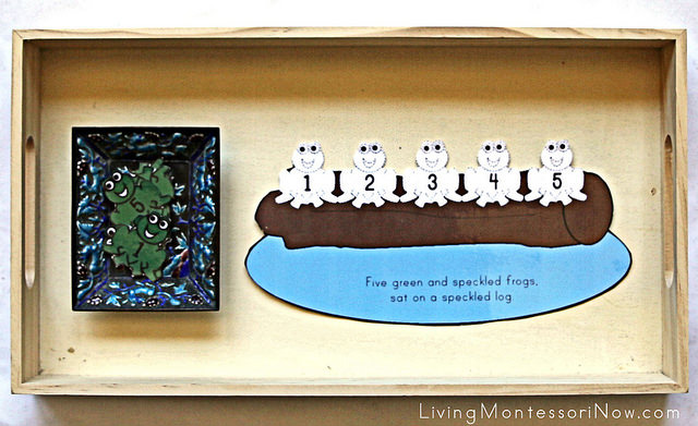 5 Green and Speckled Frogs Printable Prop Tray