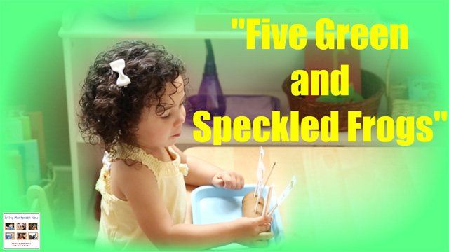 """5 Green and Speckled Frogs"" with Props & Free Printables {Montessori Monday}"