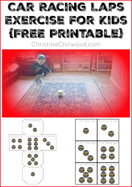 Car Racing Laps Exercise for Kids (Free Printable) from Christina Chitwood