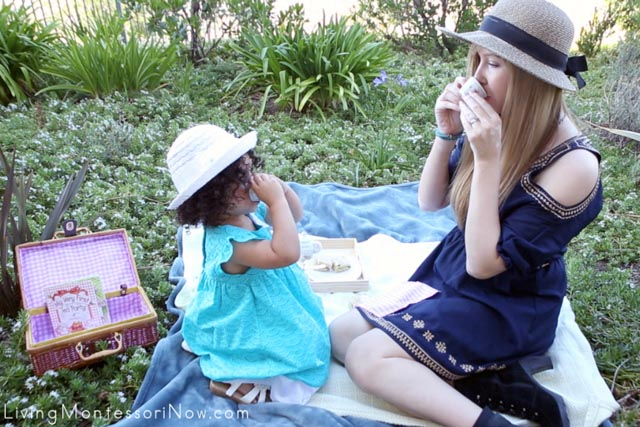 Drinking Herbal Tea at a Healthy and Courteous Tea Party Picnic