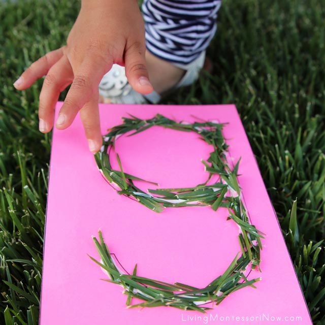 Making a Tactile Nature Letter G (Grass Letter G)