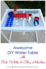 Awesome DIY Water Table with Red, White, and Blue Activities