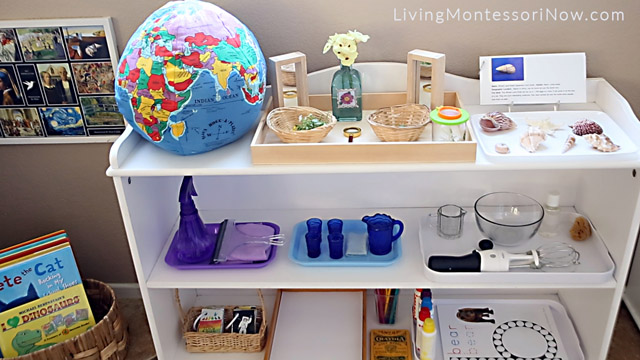 Book Basket and Shelf with Practical Life, Language, and Cultural Activities