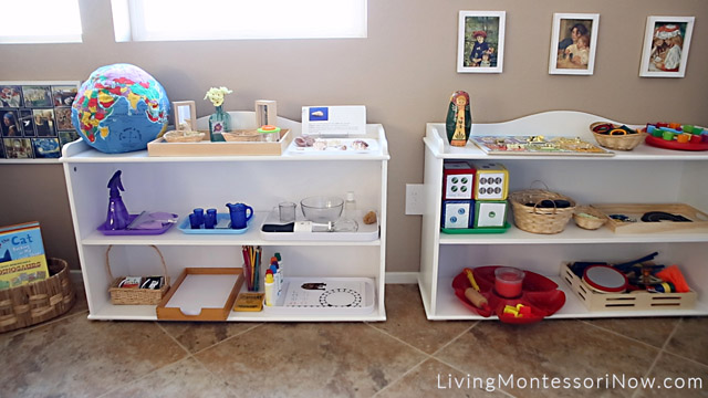 Montessori Shelves for Afterschooling a Preschooler