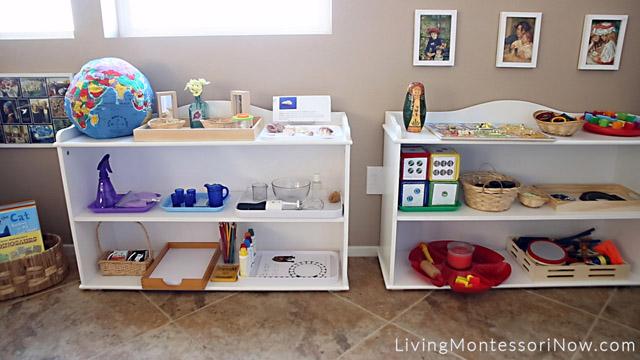 Montessori Shelves for Afterschooling a Preschooler