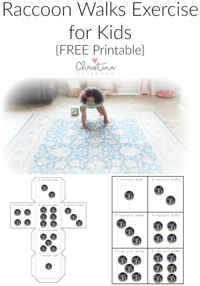 Raccoon Walks Exercise for Kids {Free Printable} from Christina Chitwood