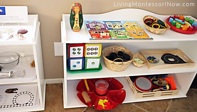 Shelf with Educational Toys, Sensorial, Math, Music, and Movement Activities