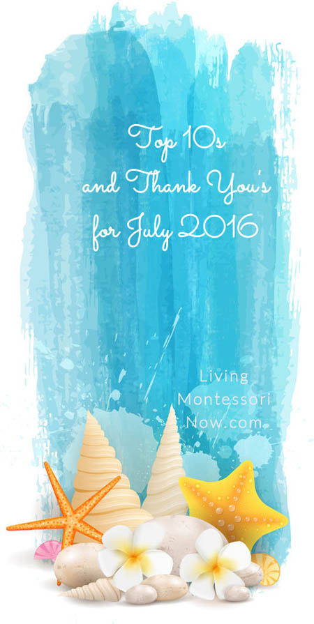 Top 10s and Thank You's for July 2016
