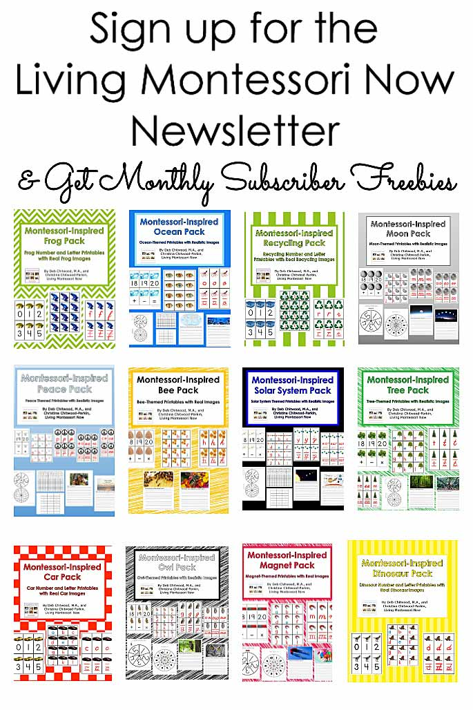 Sign up for the Living Montessori Now Newsletter and Get Monthly Freebies