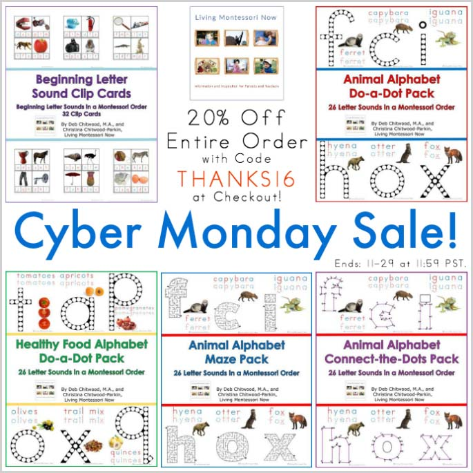 Living Montessori Now Store Products and Cyber Monday Sale