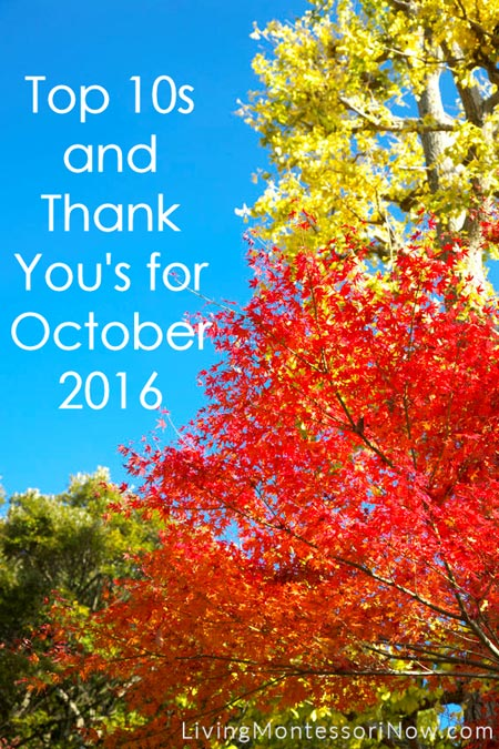 Top 10s and Thank You's for October 2016