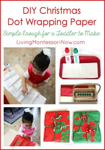 DIY Christmas Dot Wrapping Paper ... Simple Enough for a Toddler to Make