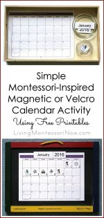 Simple Magnetic or Velcro Calendar Activity Using Free Printables {Montessori Monday}