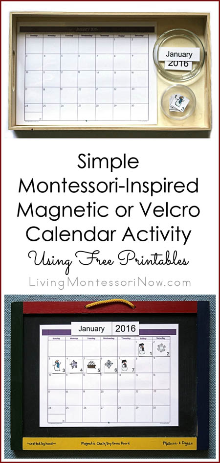 simple magnetic or velcro calendar activity using free printables