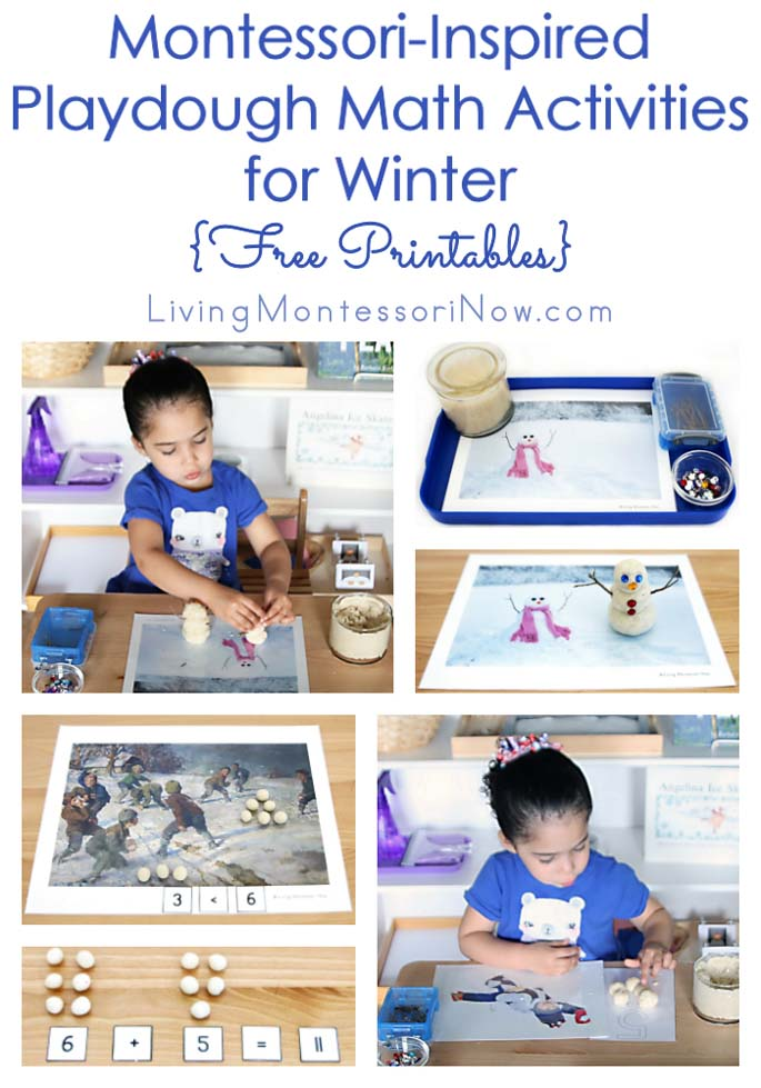 Montessori-Inspired Playdough Math Activities for Winter {Free Printables}