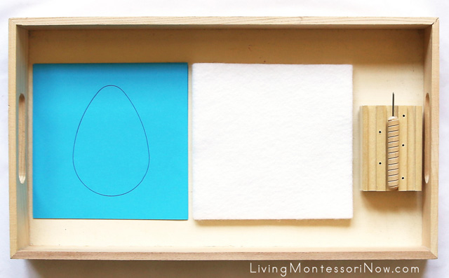 Montessori Pin Poking Tray with Inset Shapes