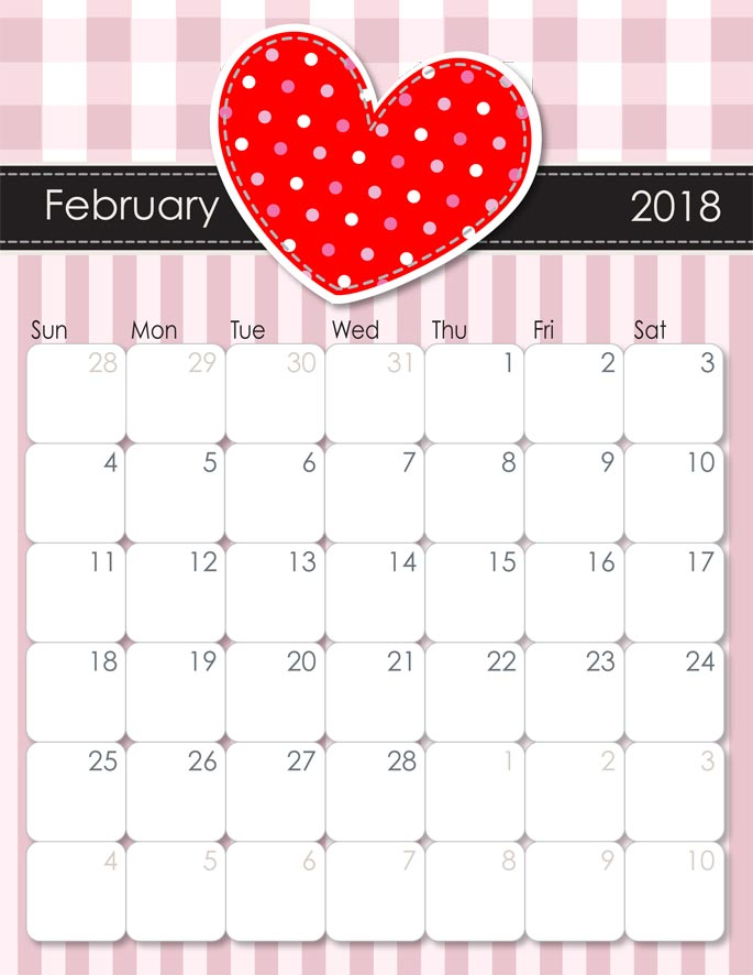 Free February 2018 Calendar from iMom