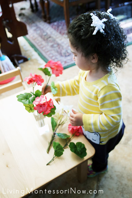 Arranging Flowers for Her Snack Table