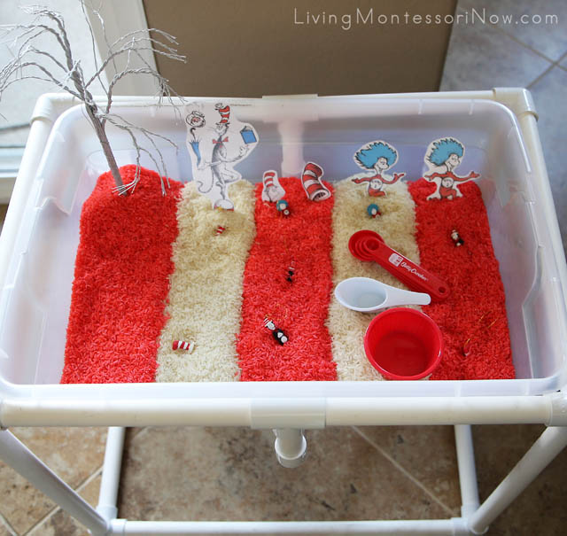 {Dr. Seuss Inspired} Cat in the Hat Sensory Table