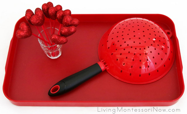 Heart Pick and Colander Fine-Motor Activity