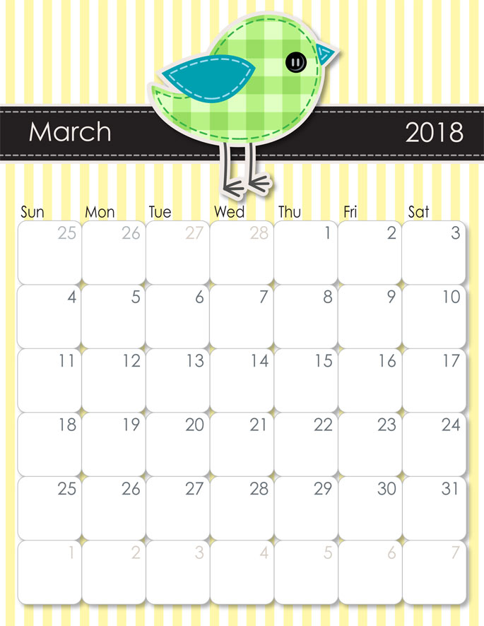 March 2018 Calendar from iMom