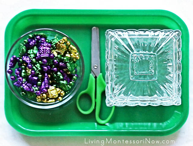 Mardi Gras Cutting Tray with Strings of Beads