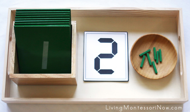 Matching Digital Clock Numbers to Sandpaper Numerals + Fine-Motor Activity with Spielgaben Wooden Sticks