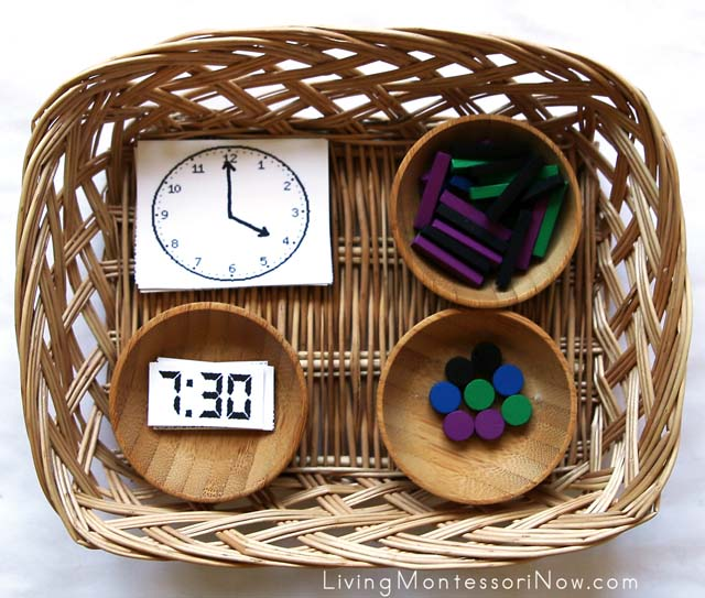Matching Digital and Analog Time Cards + Building Time Symbols with Spielgaben Wooden Sticks and Dots
