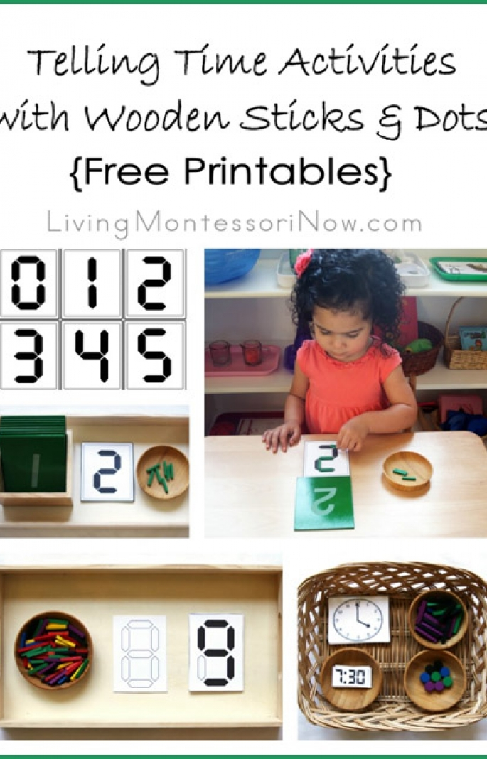Telling Time Activities with Wooden Sticks and Dots {Free Printables}