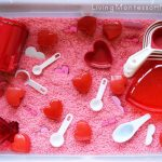 Sweet Valentine's Day Sensory Bin with Practical Life and Math Activities {Montessori Monday}