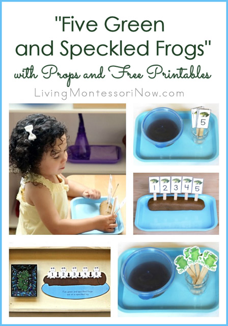 5 Green and Speckled Frogs with Props and Free Printables