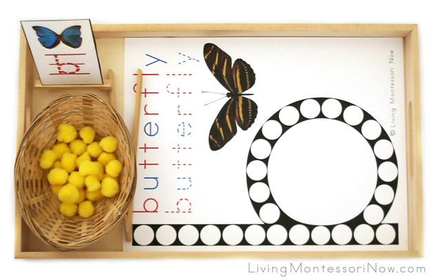 Butterfly Do-a-Dot Tray with Pom Poms