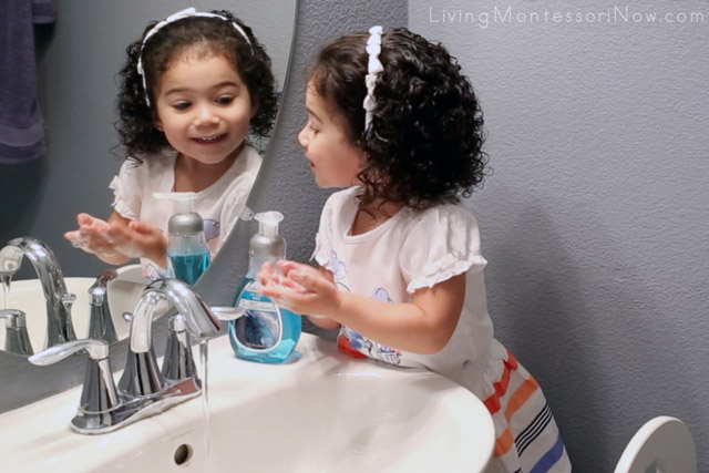 Checking Her Handwashing at Age 2