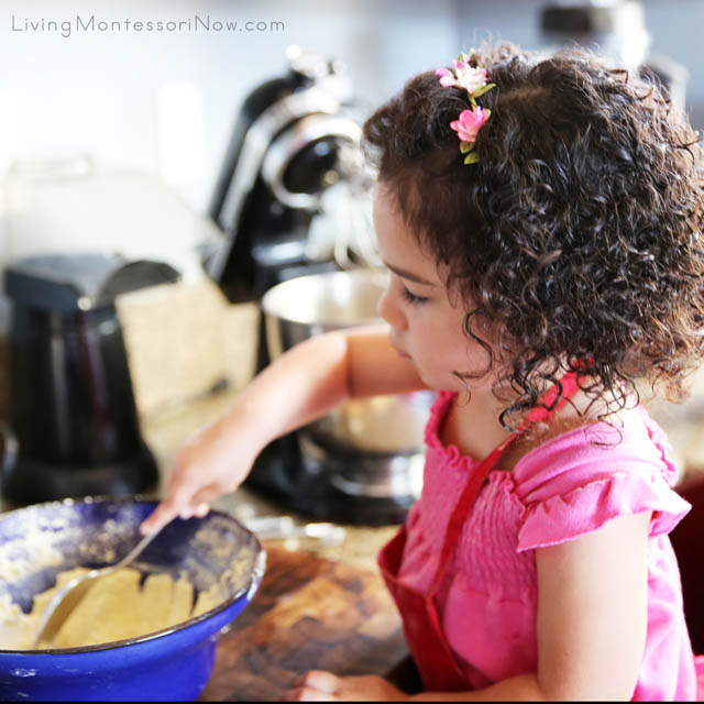 Concentrating on Stirring the Dry Ingredients