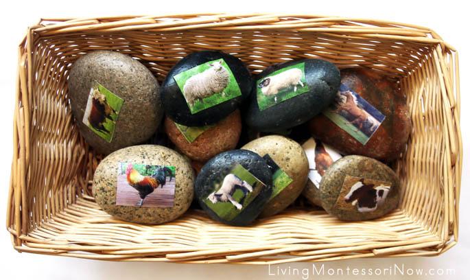 Story Stones - Farm Animal Families Treasure Basket