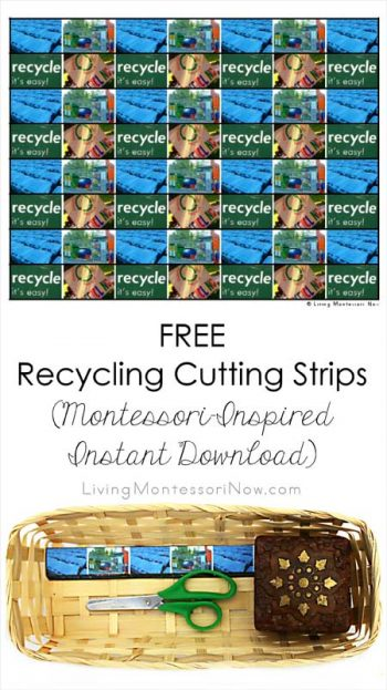 Free Recycling Cutting Strips (Montessori-Inspired Instant Download)