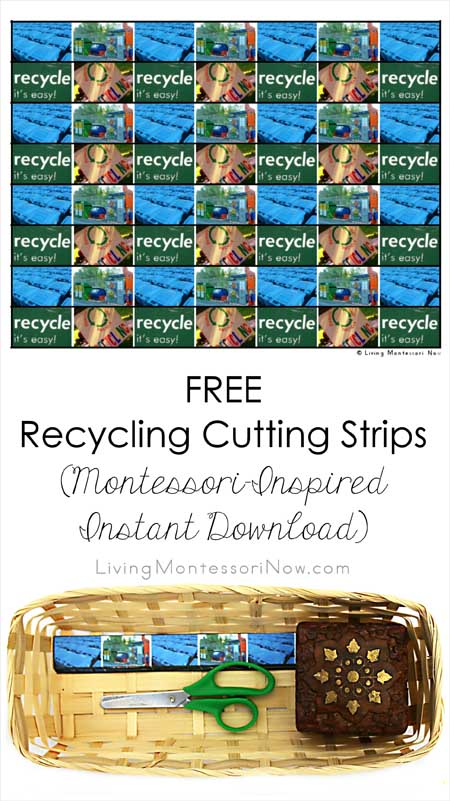 Free Recycling Cutting Strips (Montessori-Inspired Instant Download) – Montessori Monday