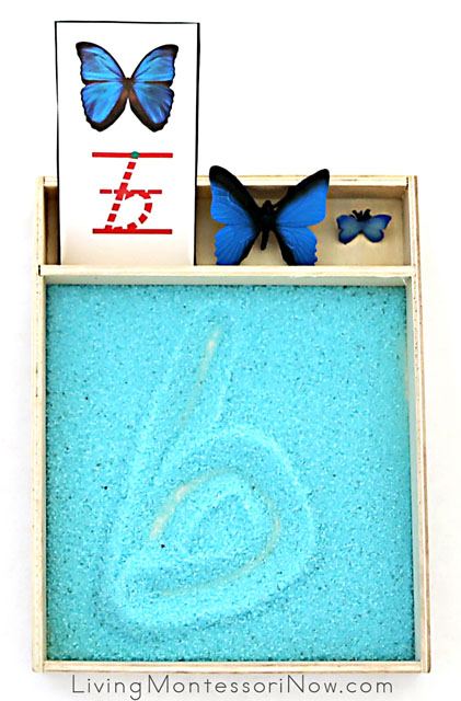 Letter B Salt Writing Tray with Butterfly Figures