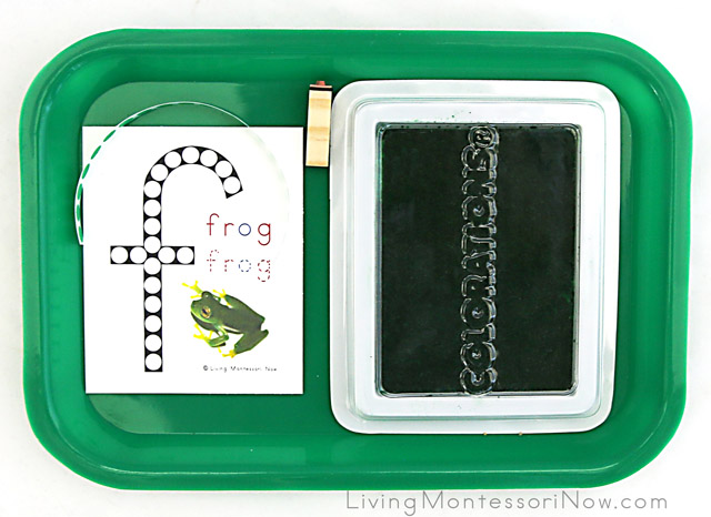 Letter F Do-a-Dot Frog Printable with Dot Stickers and Letter Stamp