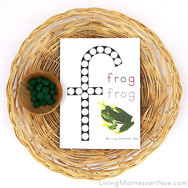 Letter F Do-a-Dot Frog Printable with Wooden Dots