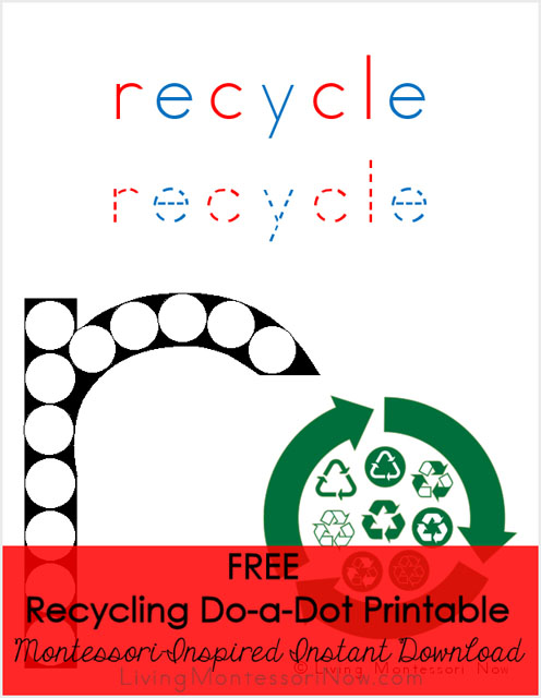 Recycling Do-a-Dot Printable (Montessori-Inspired Instant Download)