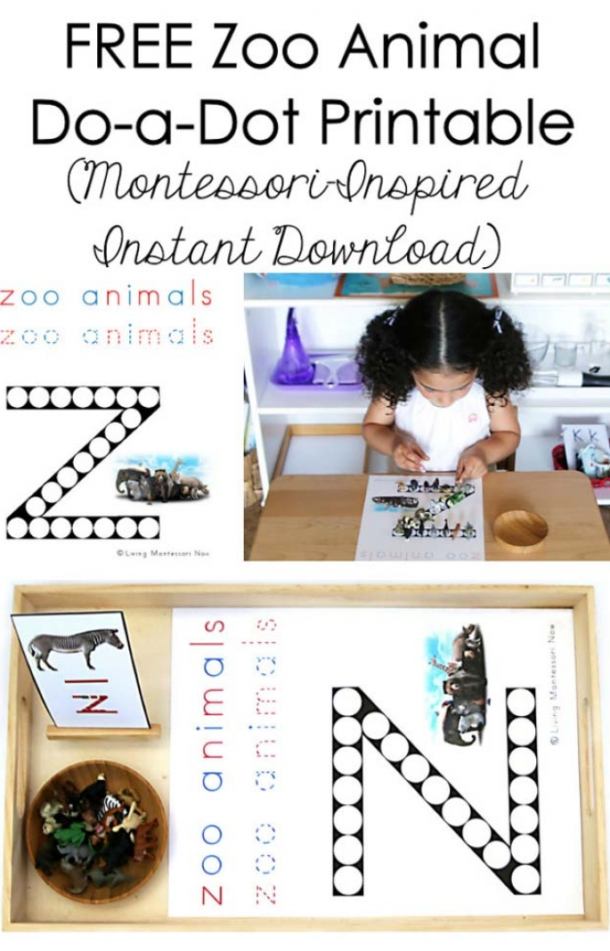 FREE Zoo Animal Do-a-Dot Printable (Montessori-Inspired Instant Download)