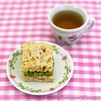 Gluten-Free Wholegrain Avocado Sandwich with Herbal Tea for a Healthy Tea Party