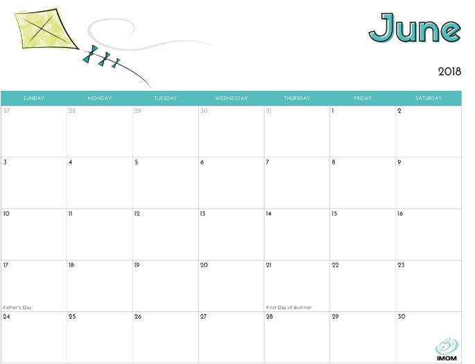 June 2018 Calendar from iMom