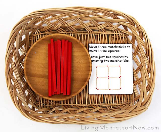 Matchstick Puzzle Basket with Spielgaben Wooden Sticks